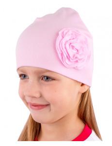 Шапка весенняя для девочек светло-розовая с плоской розой